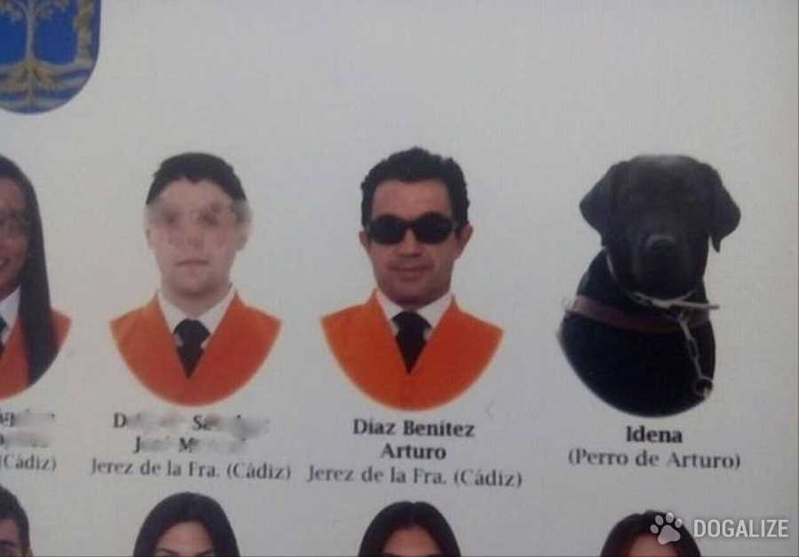 Risas con perros: un perro se cola en la foto de graduaciòn
