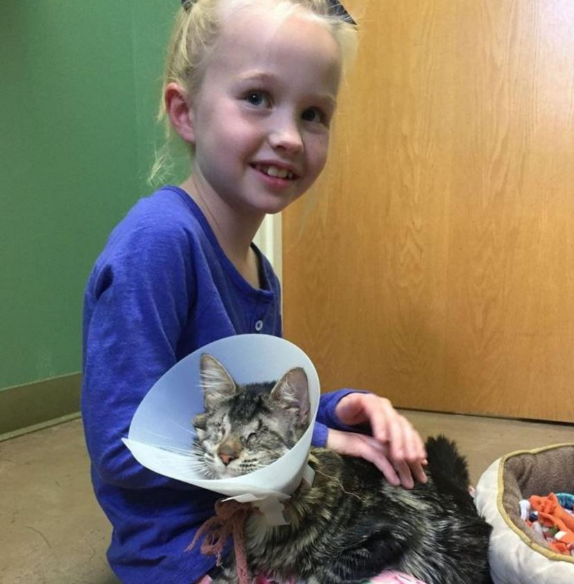 Una bimba di 8 anni e il gattina cieca che ha deciso di adottare